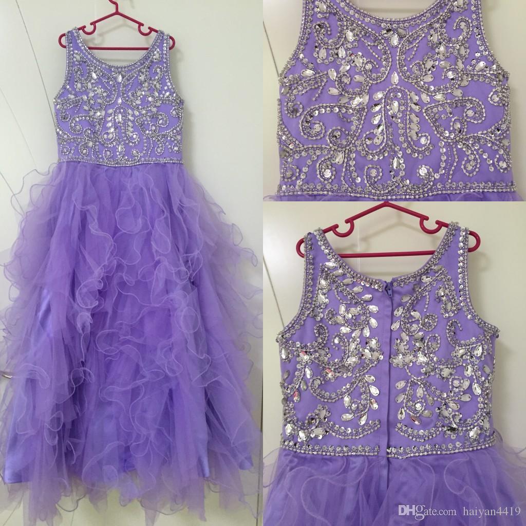2020 뉴 라일락 꽃 여자 드레스 결혼식을위한 쥬얼리 넥 긴 크리스탈 침대 주름진 얇은 얇은 명주 그린 아이들 아동 파티 생일 가운