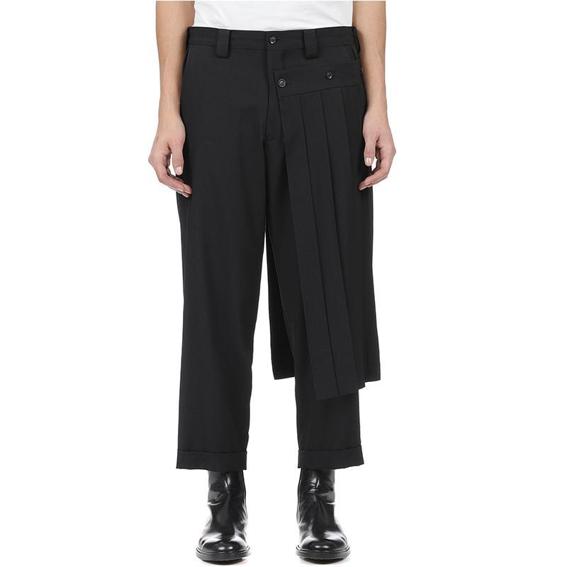 pantalon jupe pantalon de doubles hommes et effilées pantalon bobine neuf points, déconstruits coupe verticale pantalon ressort de Yohji. S-9XL !!