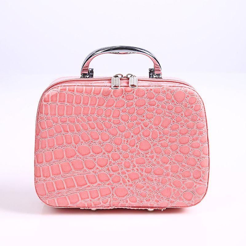 2019 Fashion Women Leopard Waterproof Cosmetic Box Bag Female Lattices Washing Toiletry kits Makeup Handbag Protable Travel Trunk Zipper