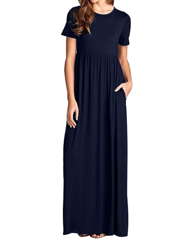 commercio all'ingrosso 2019 donne estive maxi abiti lunghi casual solido allentato o collo dress plus size manica corta a vita alta vestito da partito vestido