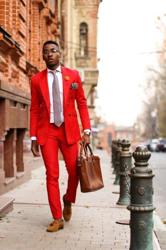 Kostüm Homme Custom Made Kırmızı Erkekler 2 Adet Düğün Damat smokin Sağdıç Sağdıç Parti Balo Yeni Suits