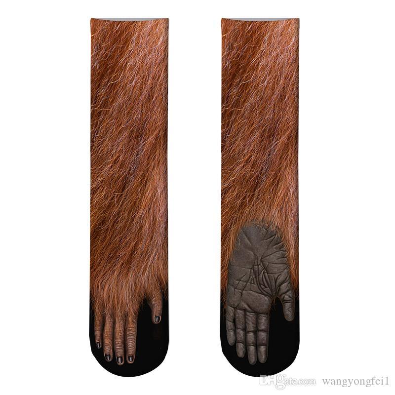 2019 Funny Socks 3D Paw Printed Animal Socks Cat Zebra Leopard Panda Paw Long Cotton Socks for Men Women Unisex