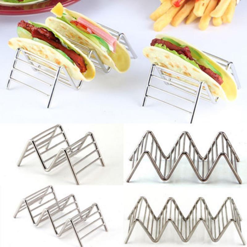 Edelstahl Taco-Halter-Platte Fried Lebensmittel Kühltropfschale Rack-Pancake Lagerung Regal Pizza Pie Display-Küche-Werkzeug-Standplatz