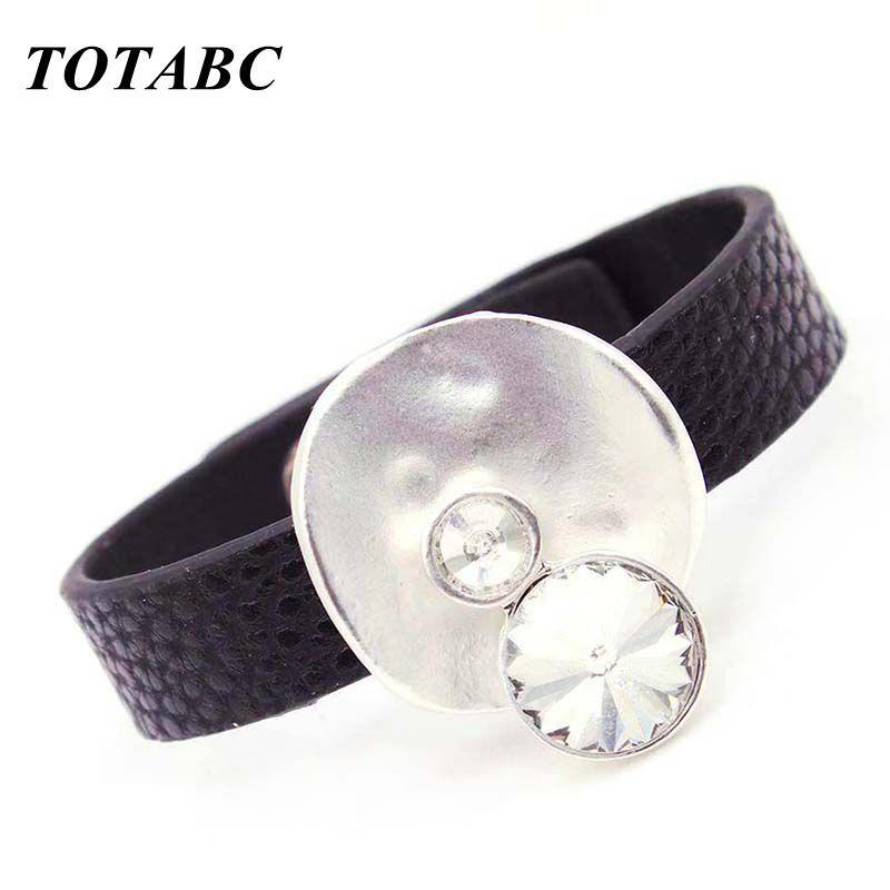 TOTABC Moda Pelle avvolge i monili mano delle donne di modo del braccialetto dei monili delle donne ID fascino dei braccialetti del polsino Femme
