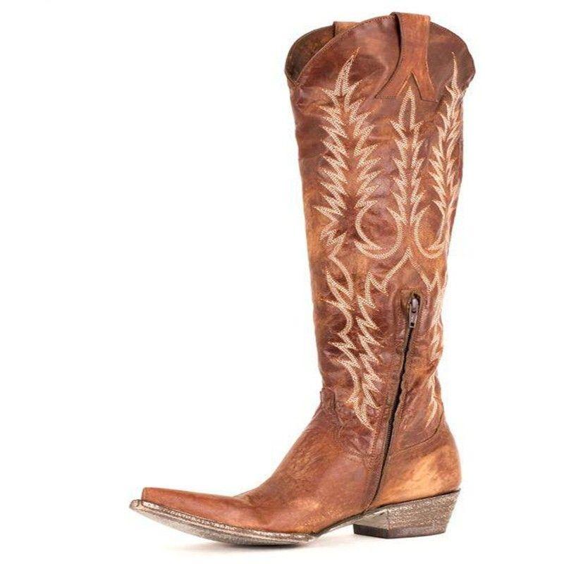 Fashion Luxury Designer Women Shoes Winter Boots Retro Embroidery Knight Wedding Bridal Cowboy Shoes Free Shipping