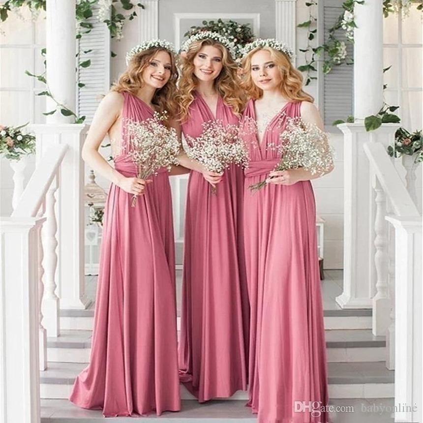 저렴한 새로운 멀티 색상 2020 들러리 드레스 섹시한 민소매 등이없는 크리스 크로스 스트랩 컨버터블 신부 들러리 공식적인 드레스 FS8235