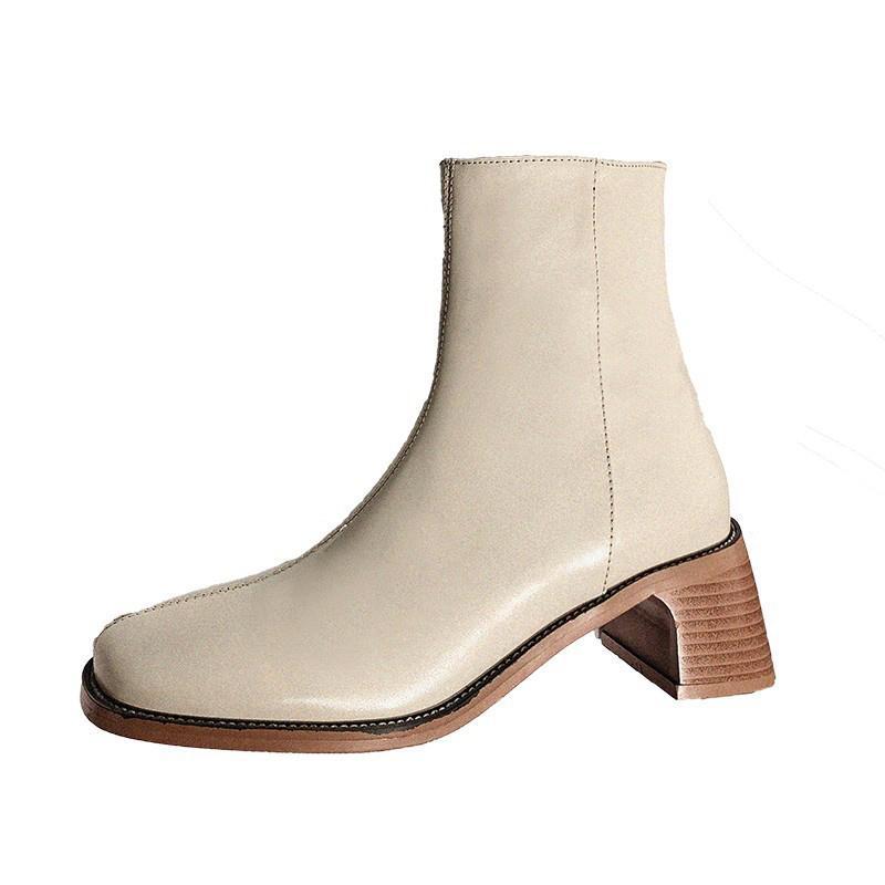 نمط إنجلترا جلد طبيعي سميكة أحذية الكعب المرأة شتاء سحاب ساحة الكاحل أحذية عالية الجودة شارع تو عالية الأعلى أحذية