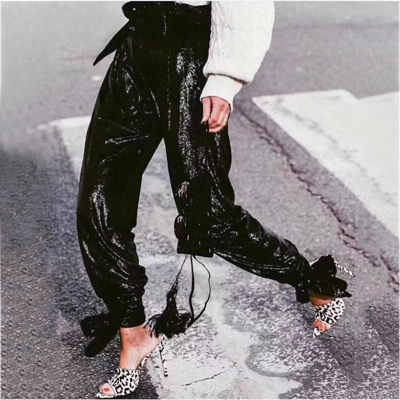 Chegada Nova Pants Mulheres Sequins fêmeas Calças Vintage Patchwork senhora negra de cintura alta do Laço-Acima Lápis Calças spodnie damskie