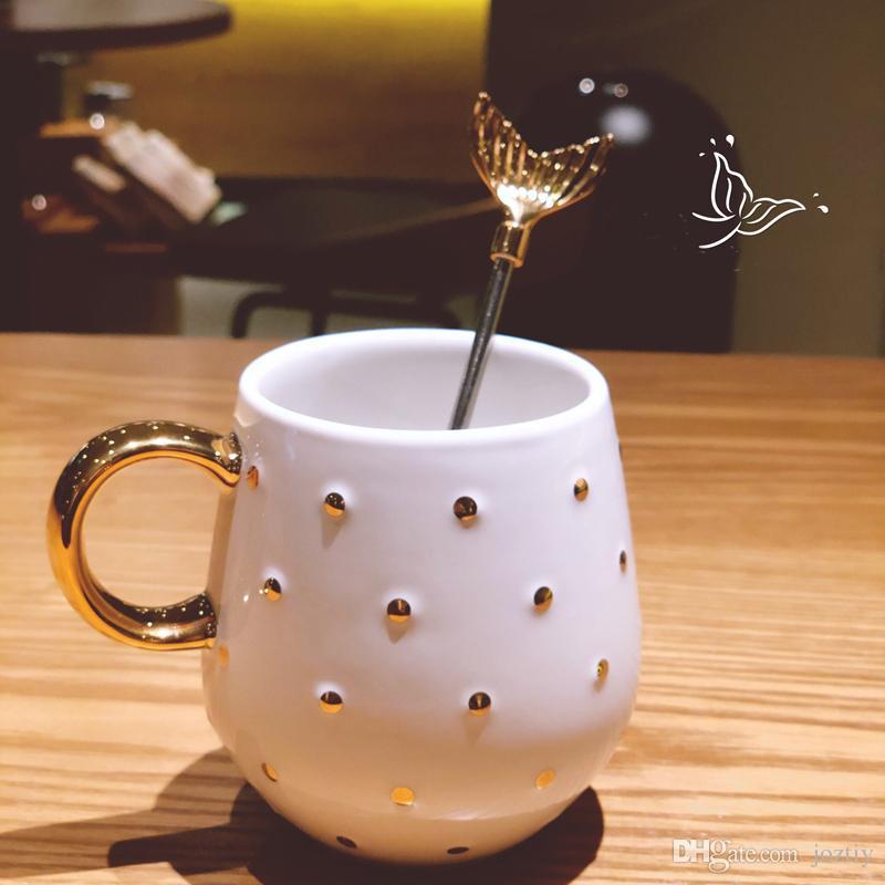 Starbucks Christmas Coffee Mugs.Starbucks Christmas 2018 Anniversary Cup Golden Wave Point Fishtail Metal Stirring Rod Ceramic Mug Coffee Cup 237ml Personalized Holiday Mugs