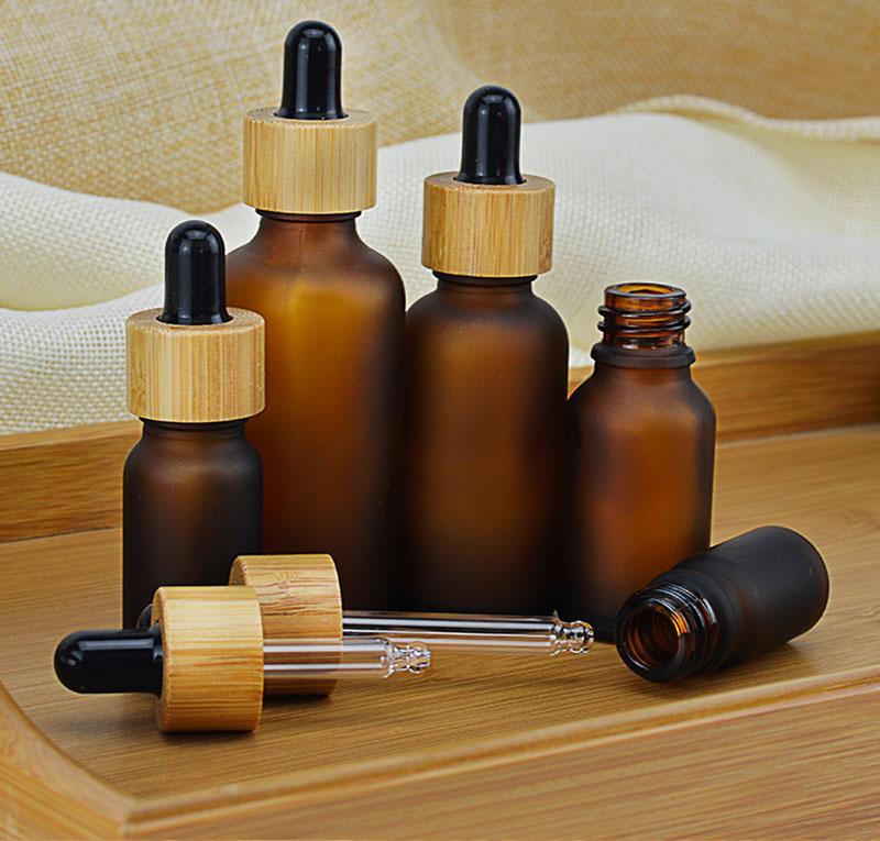 5 10 15 ml 30 ml 50 ml botella de gotero de vidrio de ámbar claro / transparente con bambú de bambú 1oz bambú bambú botella de aceite esencial envío gratis