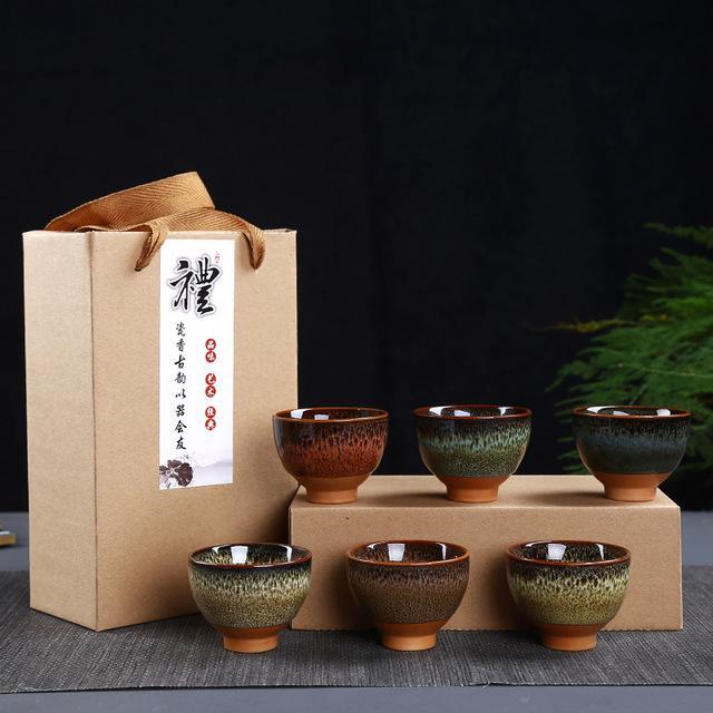 2020 6pcs/set Kung Fu Ice Crack Ceramic Tea Cups Chinese Traditions Gai Wan Tea Cup Sets Gaiwan Tea Pot Set Gift Box