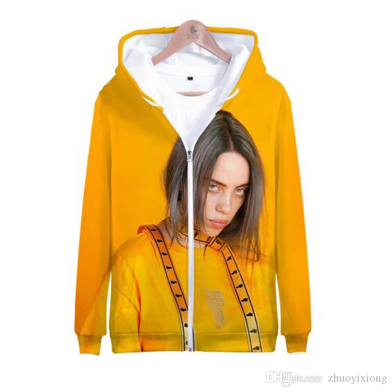 Billie Eilish 3D Printed Zip Up Harajuku Hoodies Sweatshirt Frauen / Männer Street Hip Hop Zipper mit Kapuze beiläufige Jacken-Mantel Outwear
