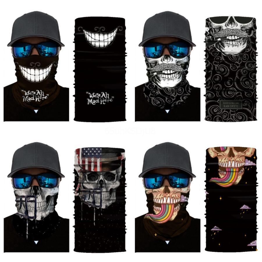 D3JOb 3D sin fisuras Cara mágica cuello aficionados Senderismo Ciclismo Pañuelos bufanda cráneo máscara de Halloween La Impreso diadema cráneo de la motocicleta de la bufanda Fa # 429