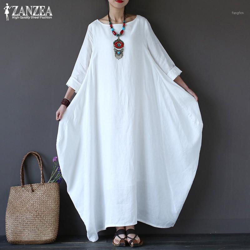 ZANZEA 2019 kadın Sundress Vintage Keten Uzun Elbise Kadın Plaj Parti Maxi Elbise Batwing Kollu Baggy Vestidos Kaftan Robe1