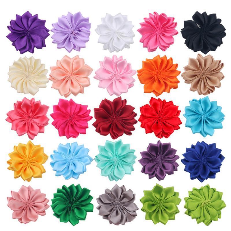 """1.6"""" 10pcs / lot del rosetón de la cinta de raso con flores botón de la perla usados para las pinzas de bricolaje accesorios de la venda del pelo de la venda"""