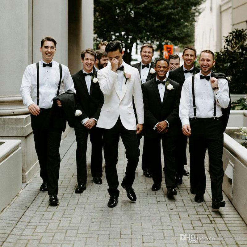 Smoking Avorio Sposo Slim Fit Abiti da uomo Mens Pantaloni neri Best Man Blazer Prom Party 2 pezzi (Cappotto + Pantaloni) Costume Homme Trajes de Hombre