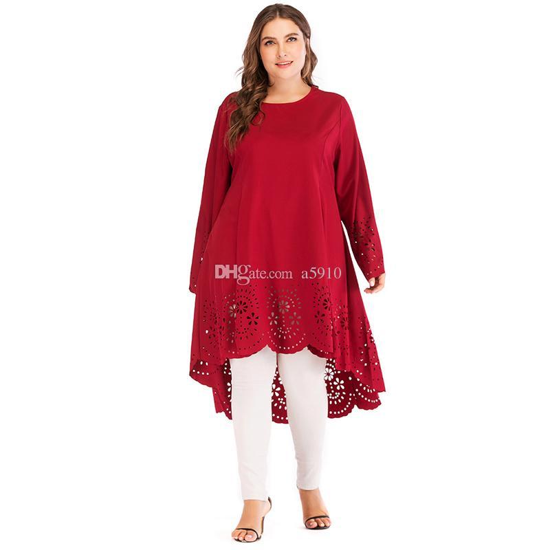 Uae Abaya Dubai Arabic Islam Red Long Hollow Out Muslim Hijab Dress Women Kaftan Turkish Islamic Clothing