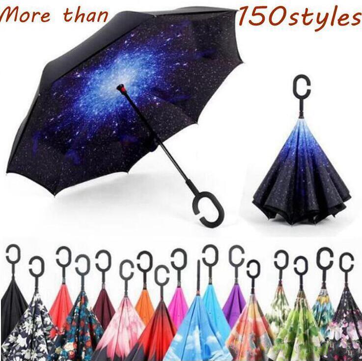 Creative Inverted parapluies arrière coupe-vent Parapluie avec C Poignée double couche Inside Out évasé Parapluies Parachute 150 de style LXL1196