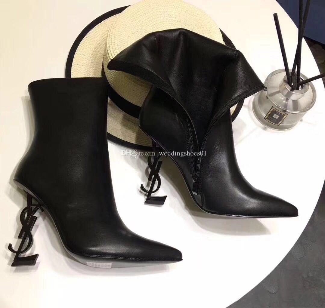 Zapatos de la venta caliente Marca Marca zapatos La nueva mujer atractiva novia de la boda de tacón alto zapatos de invierno arranque de moda de la moda del tacón alto Individual