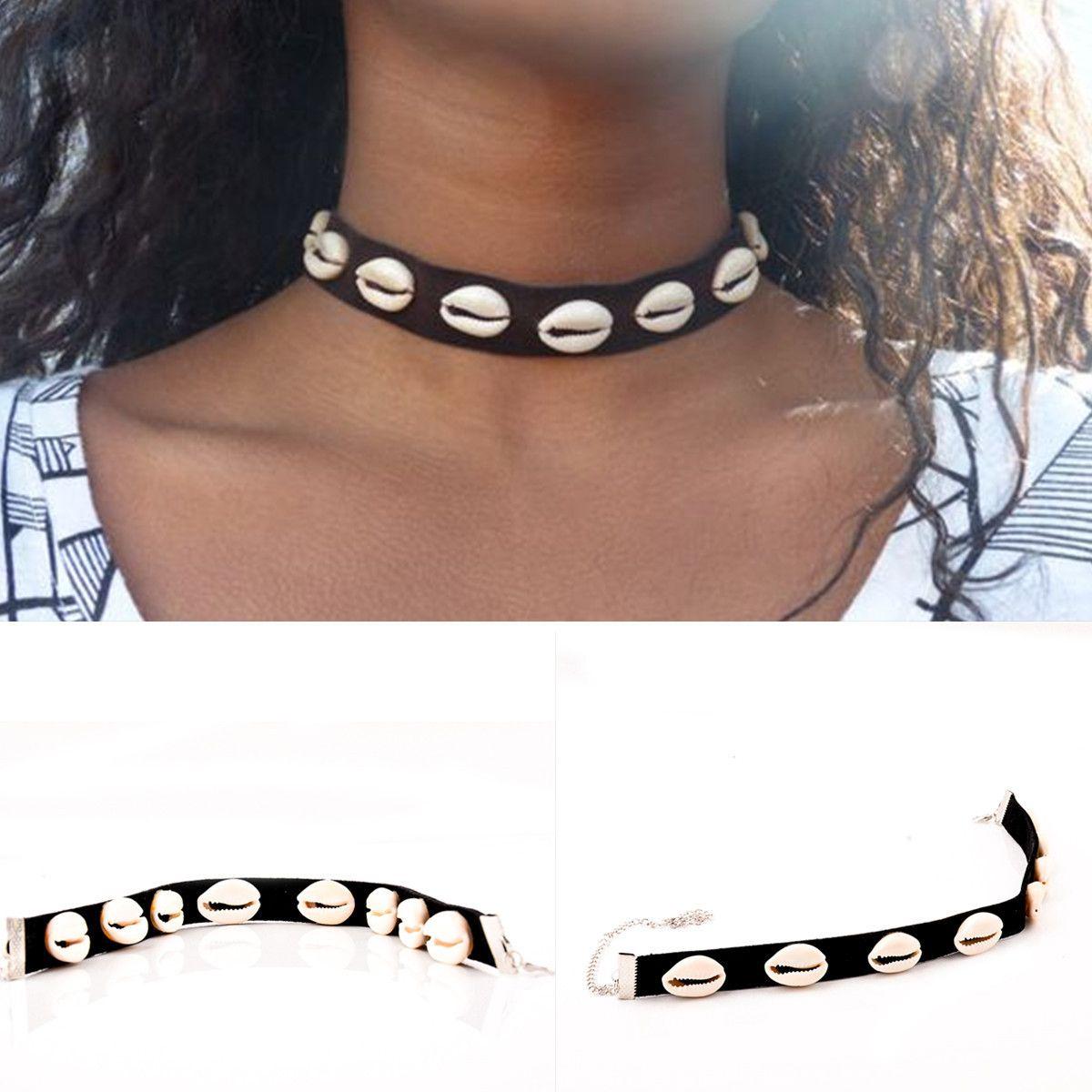 Las mujeres collar de la joyería de Shell Natural vendimia del collar del diseñador de la cadena Collares Mujer Collares de la joyería de lujo del diseñador