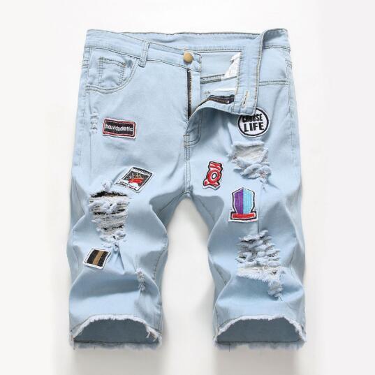 2019 New Style Mens Fashion High Street Hole Patch Pants Stretch Denim Mens Jeans Shorts Venta caliente