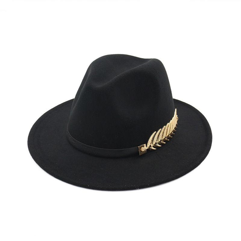 European and American New Big Hats Fashion Metal Leaves Ladies Woolen Hat Jazz Hats British Retro Hats Female Tide