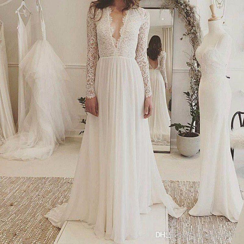 2019 funda V-Neck A-line Lace Boho vestidos de casamento Long Sleeve Backless varredura Tamanho Train vestidos de noiva sob encomenda
