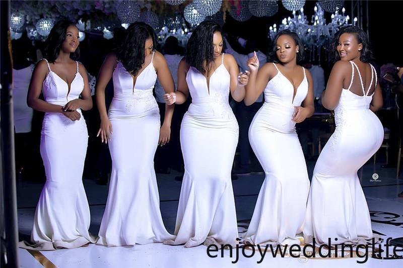 2020 Zarif Spagetti Mermaid Gelinlik Modelleri Ucuz Derin V Boyun Afrika Düğün Konuk Kıyafeti Ucuz Uzun Balo Evenig Onur Elbiseler Miad
