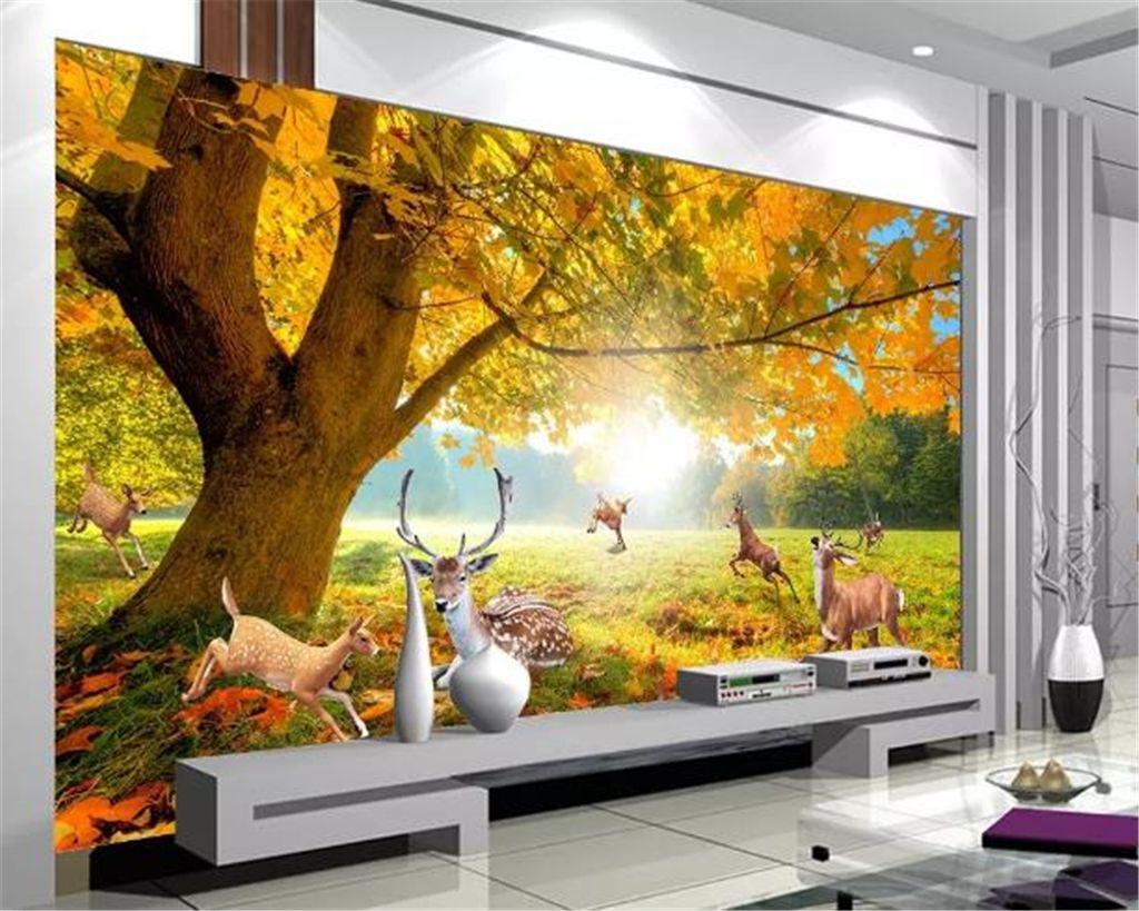 사용자 정의 사진 벽지 3d 숲 나무, 엘크, 사슴 거실 침실 배경 벽 장식 벽지