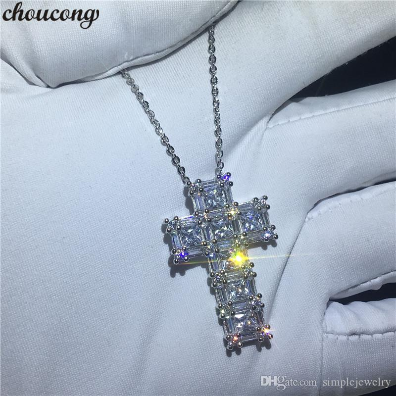 choucong Handmade Big Cross Pendants 5A Zircon Cz Real 925 Sterling silver Wedding Pendant with Necklace for women Party jewelry