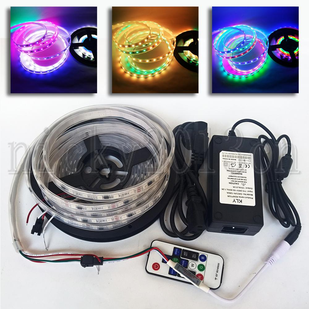 Full Set 5M WS2811 5050 RGB LED Pixel Faixa Luz 300LEDs endereçável Sonho Magic Color IP67 impermeável 12V Power Supply Controle Remoto