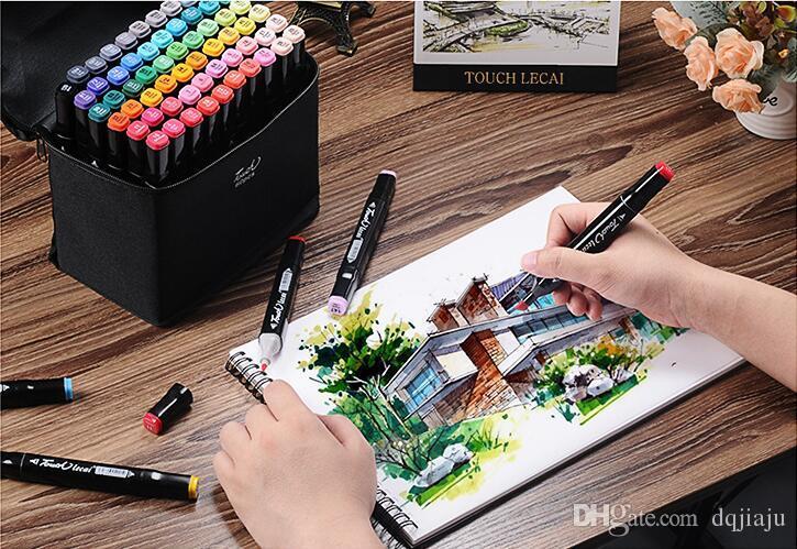 60 색 페인팅 아트 마크 펜 알코올 마커 펜 만화 낙서 스케치 더블 향함 아트 Copic 마커 디자이너