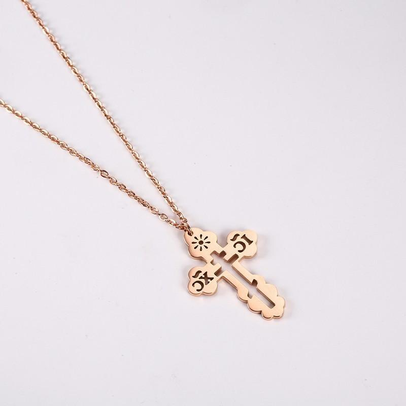 Iglesia colgante, collar de joyería de moda-ic la cruz del acero inoxidable cristiana ortodoxa rusa collar Collares religiosos