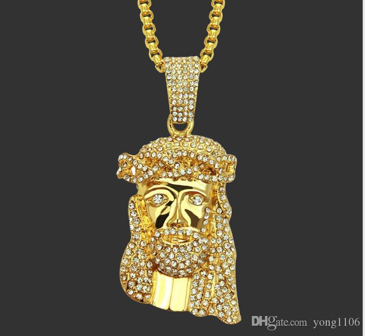 Nueva Europa y América marca de moda de la moda de joyería de diamantes con incrustaciones de la personalidad de Jesús boutique de hip-hop joyería pendiente del collar colgante