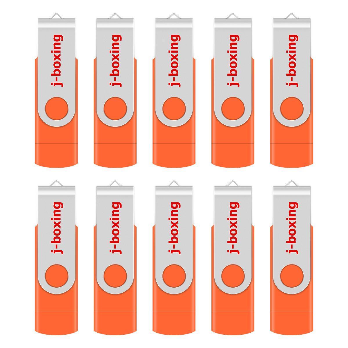 Orange 10 Pack 32GB OTG USB 2.0 Flash Drive Folding Dual USB Memory Stick Thumb Pen Drive Storage for Computer Android Smartphone Tablet