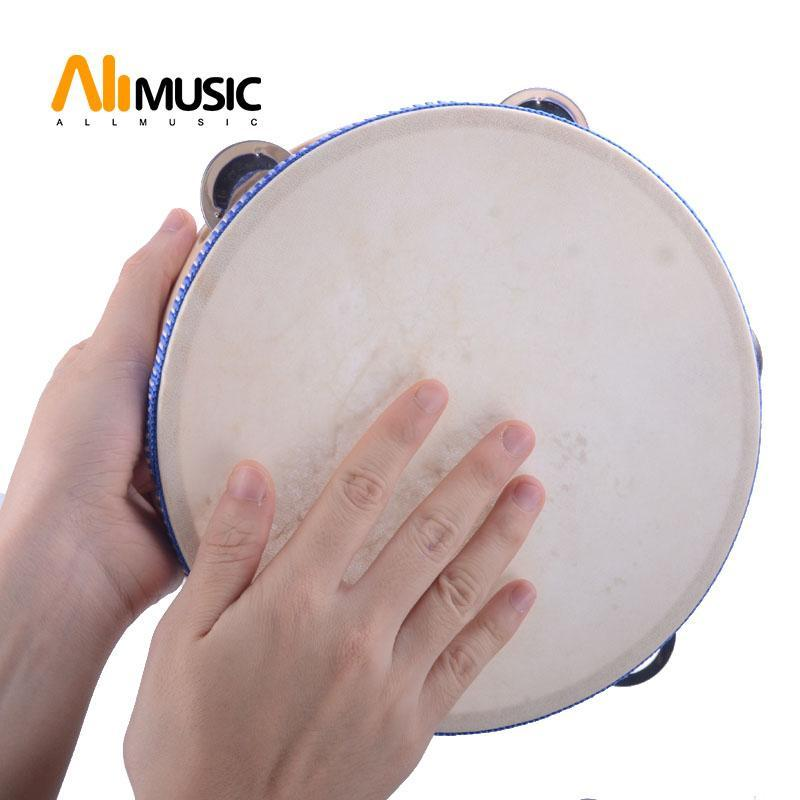 """8""""Hand Held Tambourine Drum Bell Birch Metal Jingles Percussion Musical Educational Toy Instrument for KTV Party Kids Games 1pcs"""