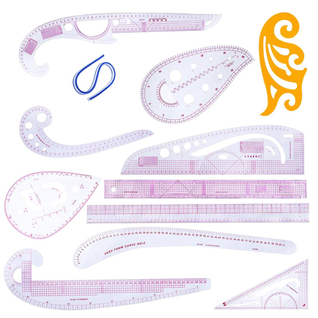12 Stlye Kunststoff Mode Lineal Set Französisch Kurve Muster Grading Lineale Styling Design Handwerks-Nähen Werkzeug-Set für DIY Kleidung