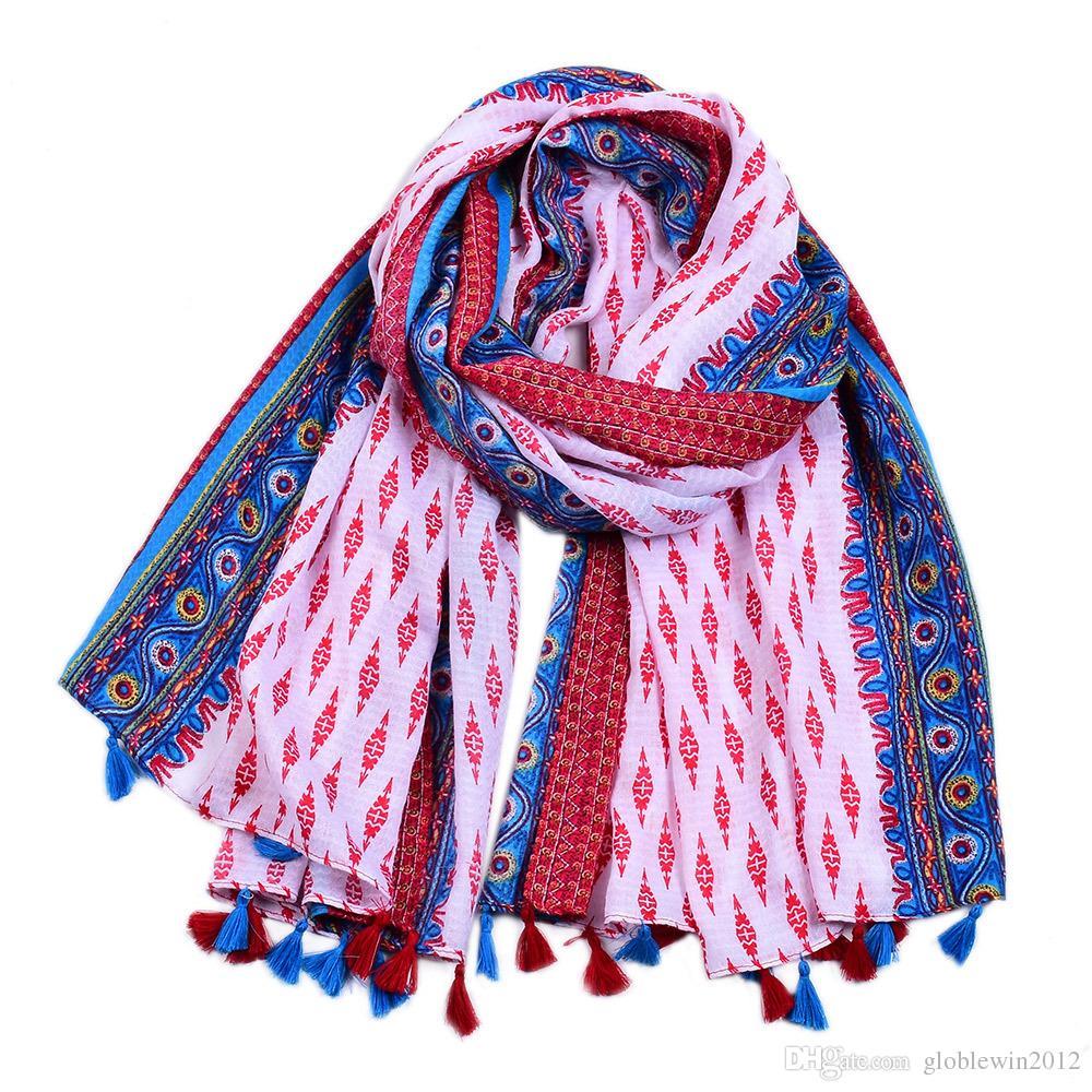 Fashion New Geometric Tassel Cotton Scarves Shawls 2019 Long Trendy Travel Geometry Wraps Scarf Hijab Muffler 4 Color Hot Sale Free Shipping
