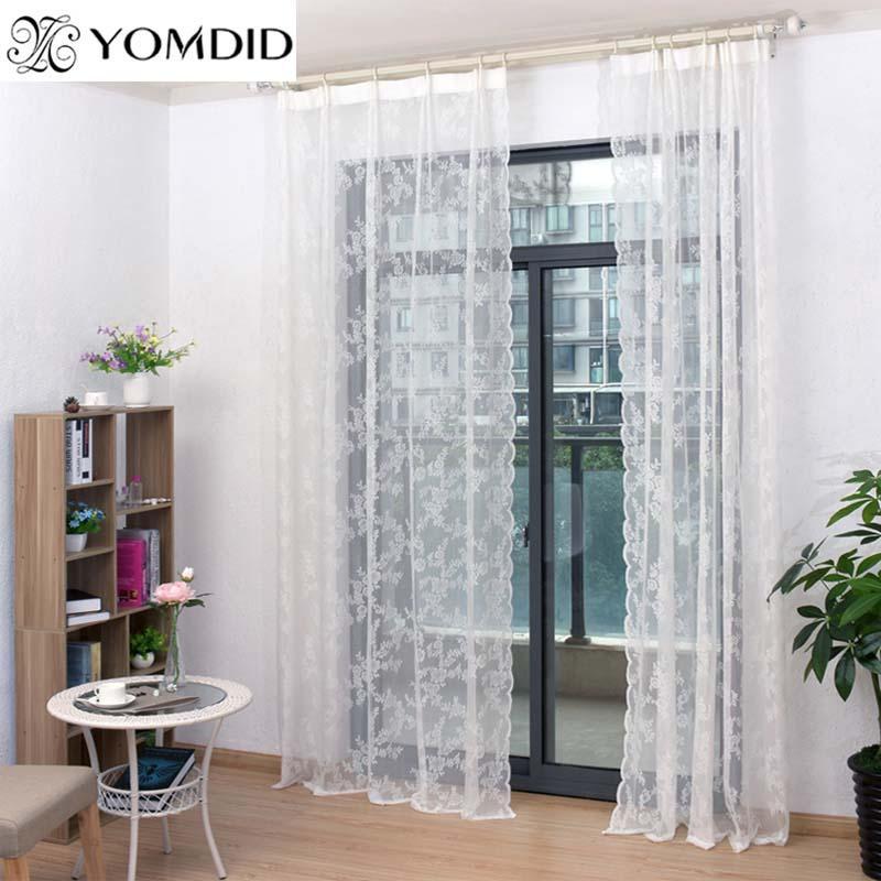 Lace cortinas de tule Voile cortinas Insect Cama Folha Painel Canopy Netting Drape porta janela Sheer cortina branca para sala