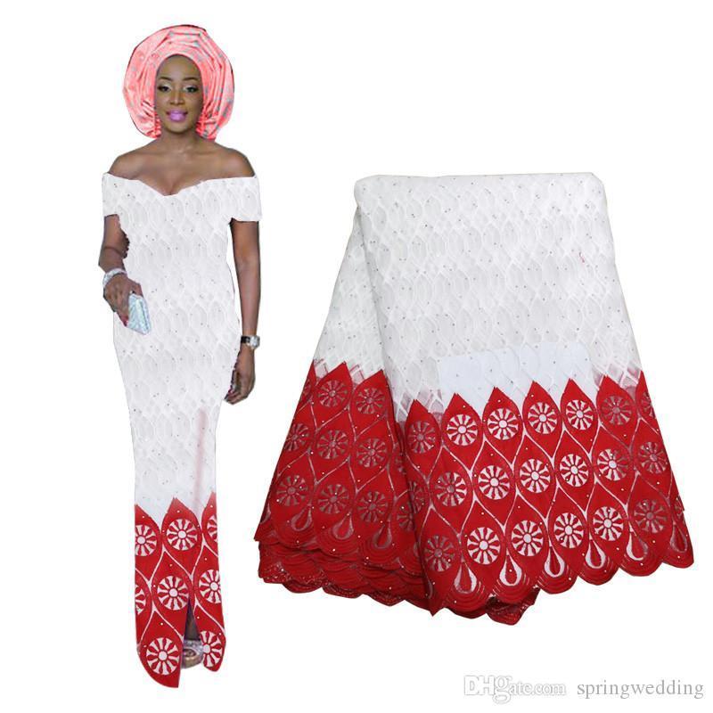 2020 Hot Sell Nigerian Afrikanische Spitze wulstige Gewebematerialien für Hochzeiten Partei-Kleid-Spitze-Tuch 5Yards Großhandel BF0034