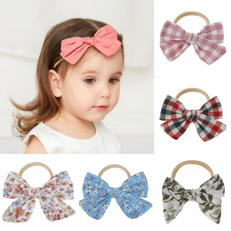Baby Floral Hair Bands 4 Inch Big Bow Nylon Headbands Kids Boutique Checkered Printed Solid Color Elastic Baby Accessories 060522