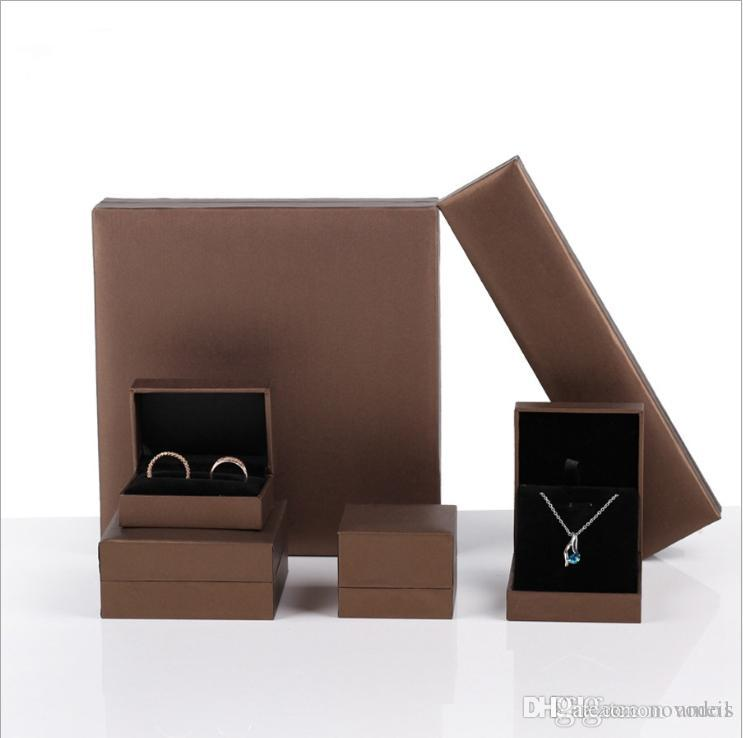 leatherette paper jewelry packaging & display ring box brown jewellry box Bracelet necklace holder case for jewelry exhibitor Free Shipping