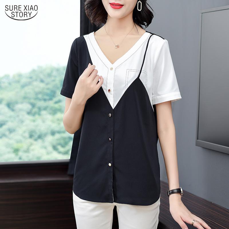 Blusas de mujer Camisetas Oficina de verano Lady Korean Fashion Ropa Tallas grandes Tops para mujer y 2021 Chiffon Blusas 10043