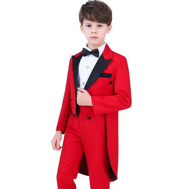 Brand Red Flowers Boys Formal Suit Wedding campus student Tuxedo Dress Gentleman Kids Jacket Vest Pants 5Pcs Ceremony Costume