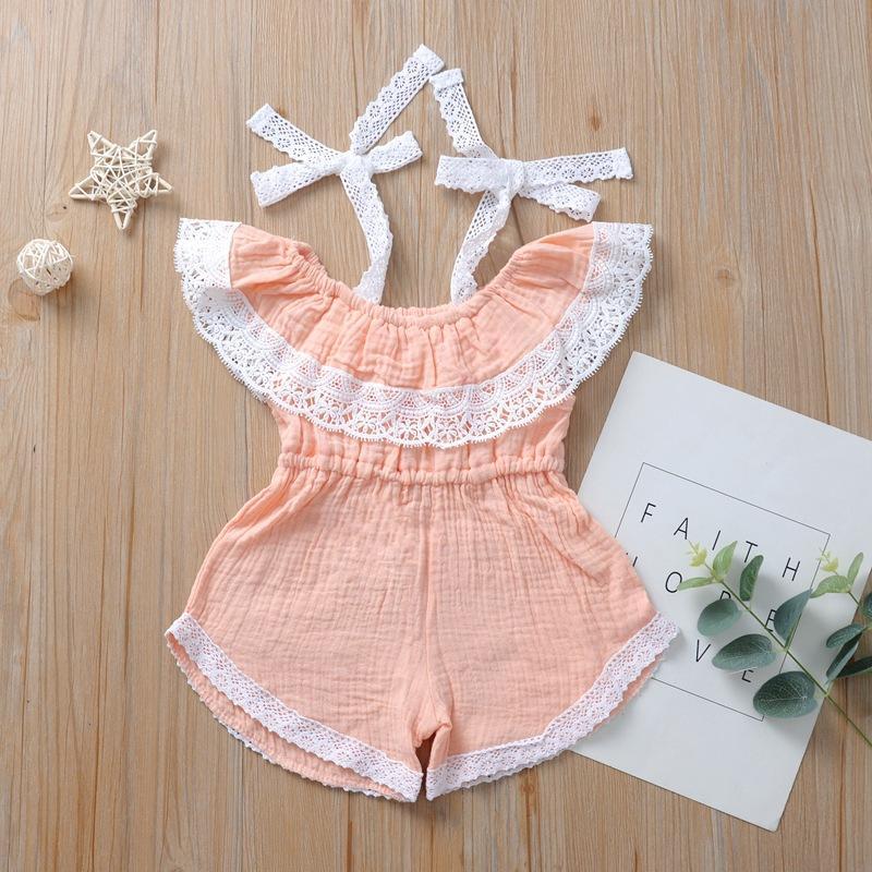 Baby-Spielanzug 2020 IN Sommer-Spitze weg Schulter Jumpsuits Kind-Mädchen-Kleidung 5 Farben Kinder Baby Baby-Kleidung