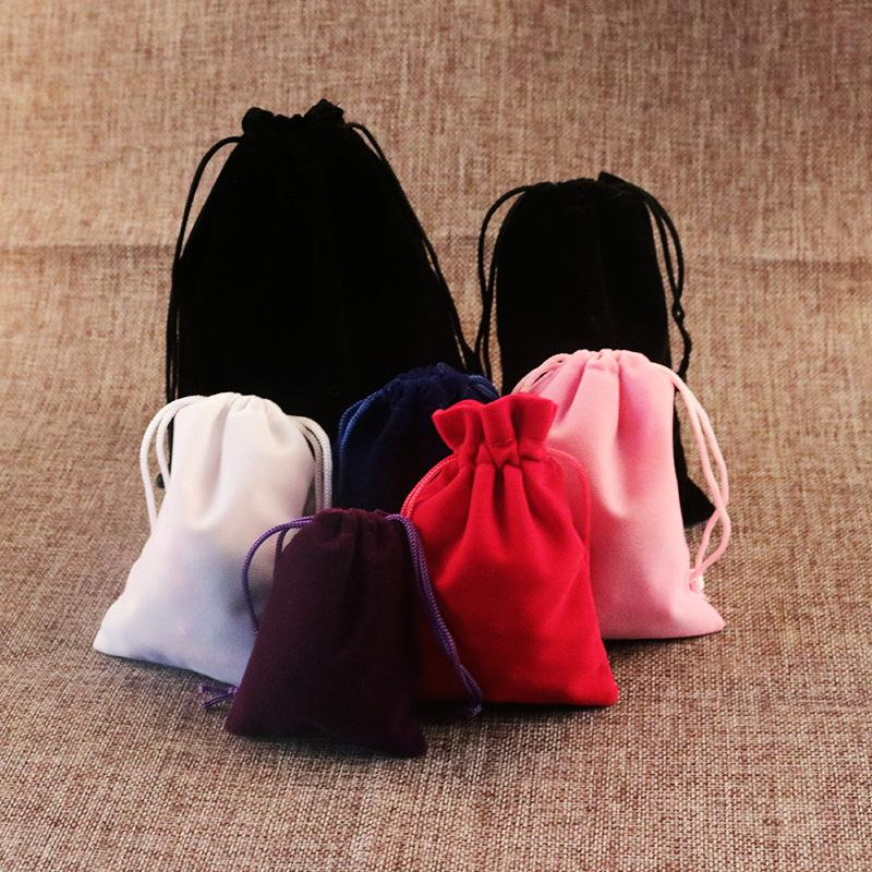 High Quality 1000pcs 7x9cm Black Velvet Bags Jewellery Pouches Gift Packaging Bags Free Shipping 2018 New Velvet Drawstring Bags