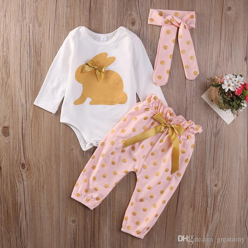3Pcs/lot New Cute Baby Newborn Infant Girls Summer Clothes Rabbit Bodysuit Long Sleeve Bow Playsuit Pants Outfits Set