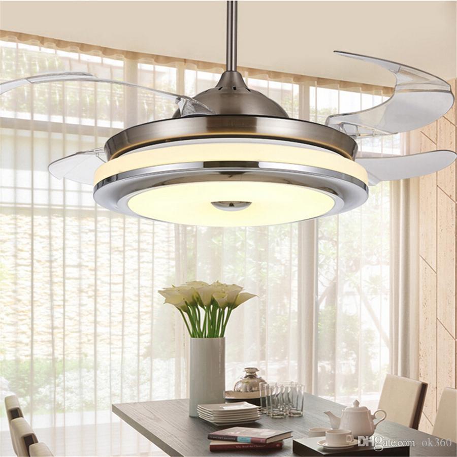 Invisible teto retrátil Blades Chrome Fan 42 polegadas simples moderno Fan candelabro com luzes para Sala Quarto Início luz de teto