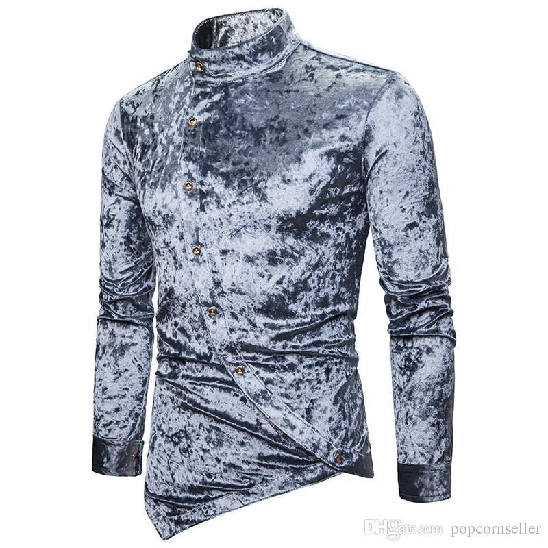 Erkek Tasarımcı Kişilik Eğik Düğme Elmas Kadife Düzensiz Gömlek Çok Renkli Henry Yaka Yüksek Grade Uzun Kollu Erkek Giyim