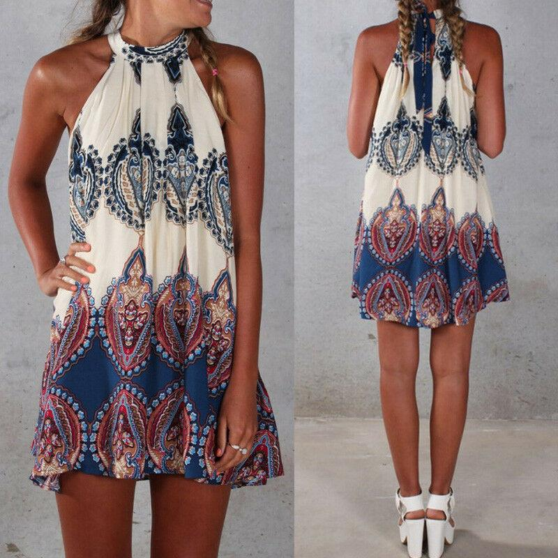Women Summer Beach Mini Sundress Ladies Casual Sleeveless Swing Boho Short Dress